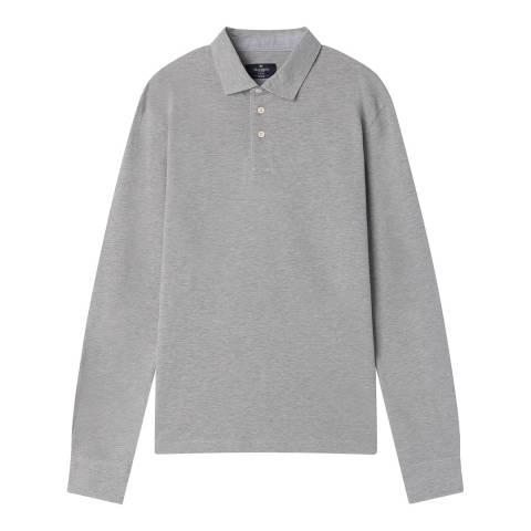Hackett London Grey Marl Cotton Stretch Polo Shirt