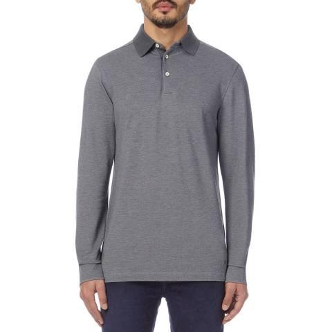 Hackett London Dark Grey Oxford Cotton Polo Shirt