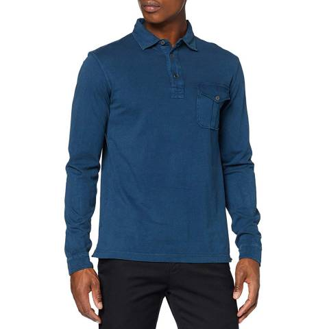 Hackett London Petrol Brushed Cotton Polo Shirt