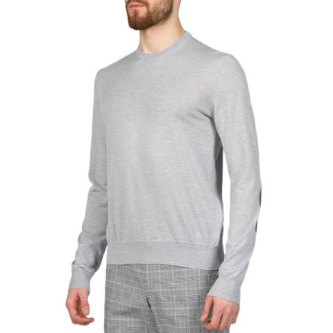 Hackett London Light Grey Marl Crew Neck Merino Wool Jumper