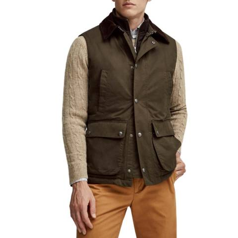 Hackett London Olive Wax Cotton Mix Gilet