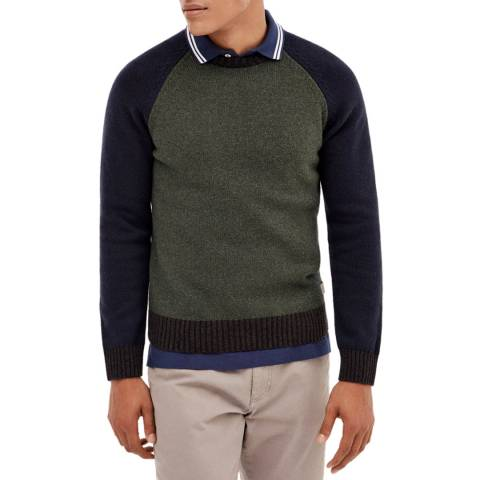 Hackett London Green/Multi Colourblock Wool Blend Jumper