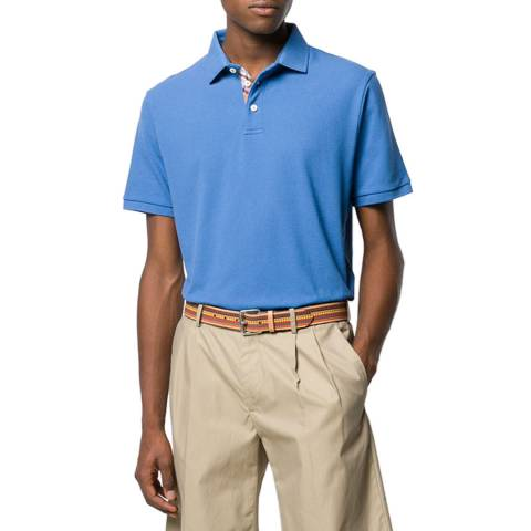 Hackett London Blue Madras Trim Cotton Polo Shirt