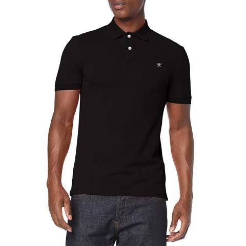 Hackett London Black Logo Slim Cotton Polo Shirt