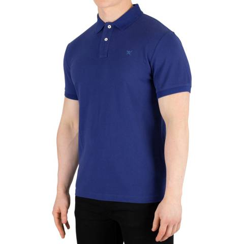 Hackett London Dark Blue Logo Slim Cotton Polo Shirt