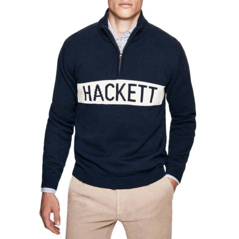 Hackett London Ink Archive Intarsia Cotton Jumper
