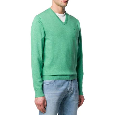 Hackett London Green Cotton Silk V Neck Jumper