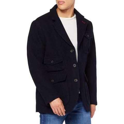 Hackett London Navy Heavy Hybrid Wool Blend Jacket