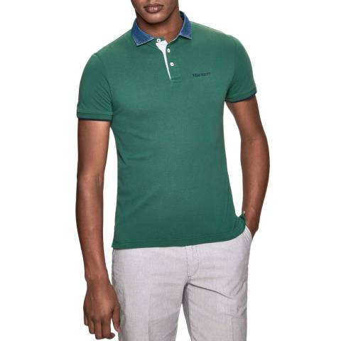 Hackett London Green Chambray Slim Cotton Polo Shirt