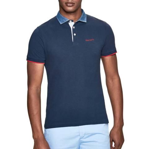 Hackett London Navy Chambray Slim Cotton Polo Shirt