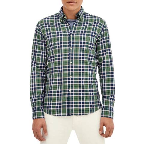 Hackett London Green/Navy Plaid Slim Cotton Shirt