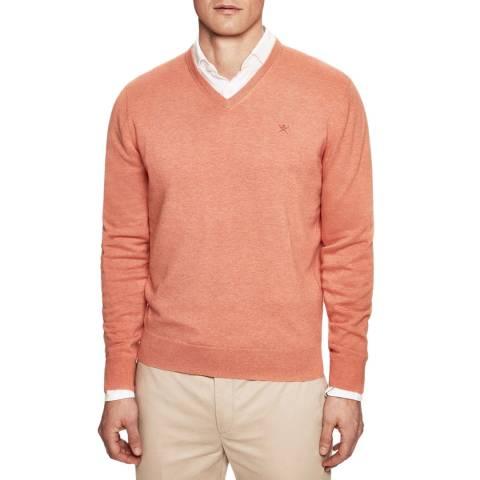 Hackett London Orange V Neck Cotton/Silk Jumper