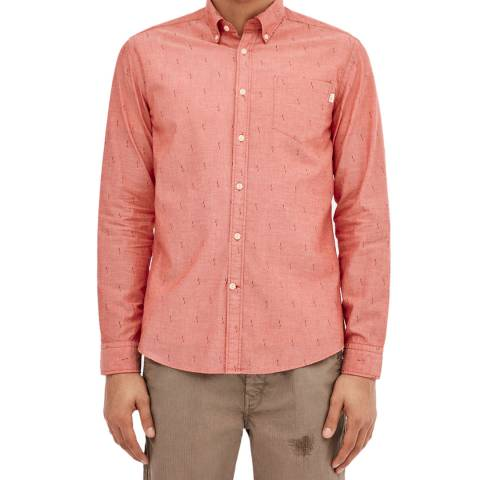 Hackett London Red Fil Coupe Slim Cotton Shirt