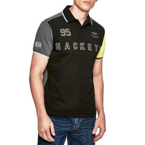 Hackett London Black/Multi AMR Cotton Stretch Polo Shirt