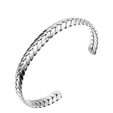 Stephen Oliver Silver Plated Textured Cuff Bangle