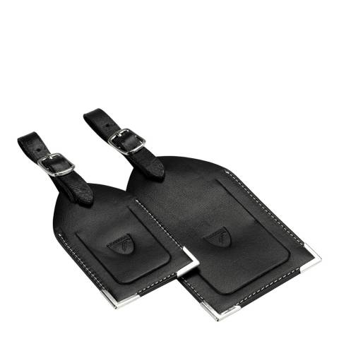 Aspinal of London Set of 2 Black Luggage Tags