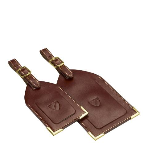 Aspinal of London Set of 2 Cognac Luggage Tags