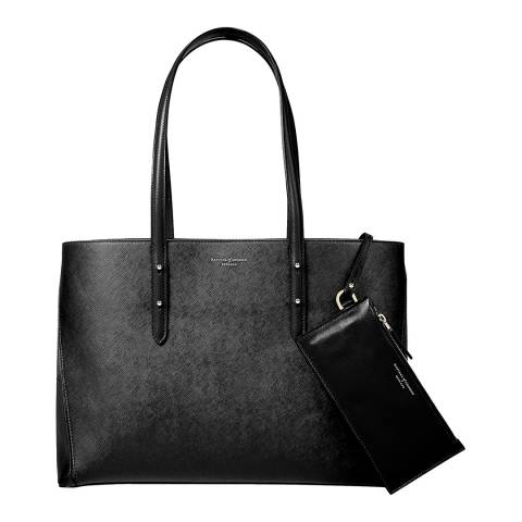 Aspinal of London Regent A Tote Black Saffiano/Red Suede