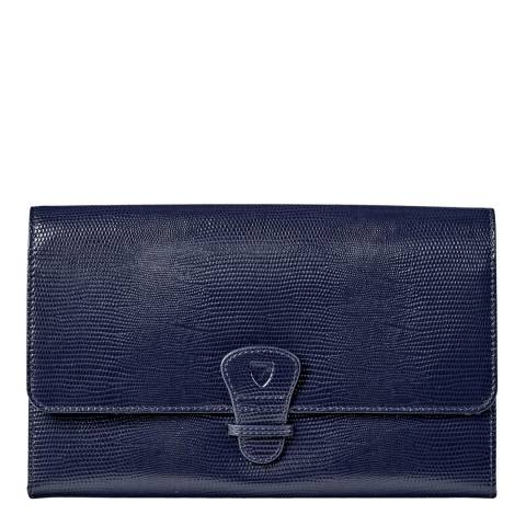 Aspinal of London Midnight Blue Silk Lizard Classic Travel Wallet