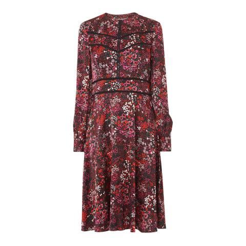 L K Bennett Red Robyn Printed Satin Dress