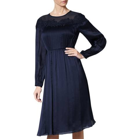 L K Bennett Navy Isabel Chiffon Lace Silk Dress
