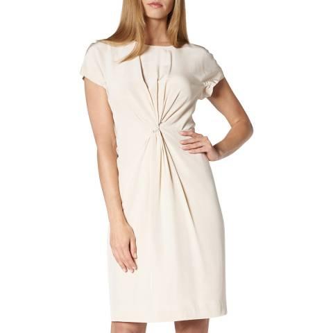 L K Bennett Cream Milas Twisted Front Silk Dress