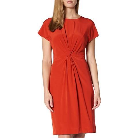 L K Bennett Red Milas Twisted Front Silk Dress