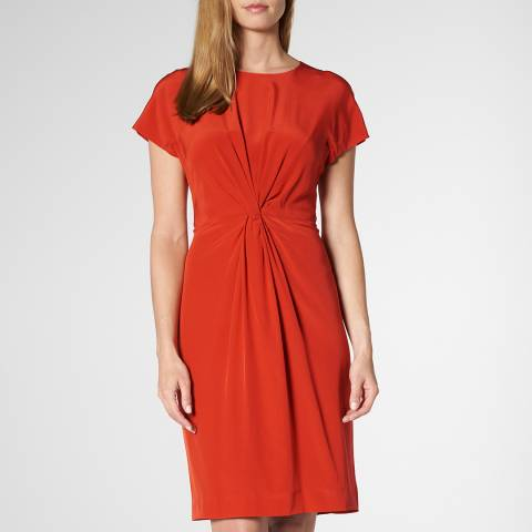 L K Bennett Red Milas Twisted Front Silk Dress