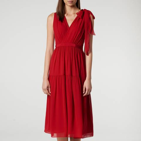 L K Bennett Red Abigail Evening Silk Dress