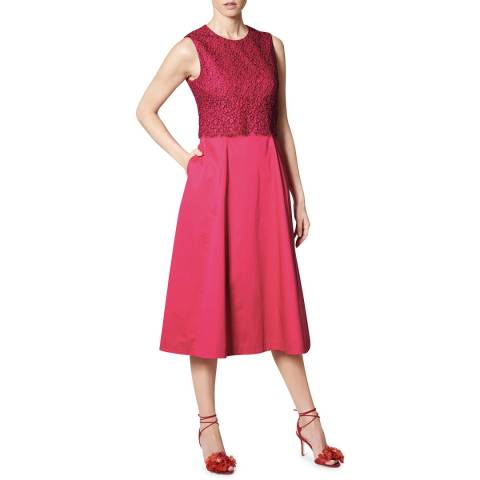 L K Bennett Pink Alecia Lace Bodice Dress