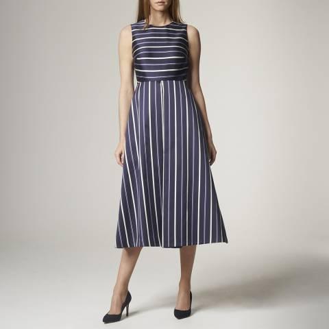 L K Bennett Navy Natalee Inverted Pleat Dress