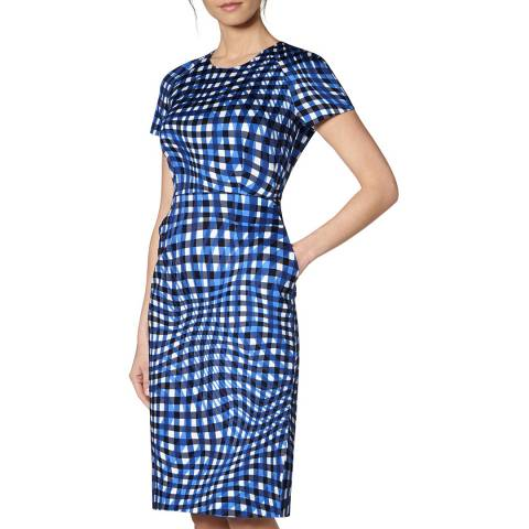 L K Bennett Blue Kaleigh Fitted Dress