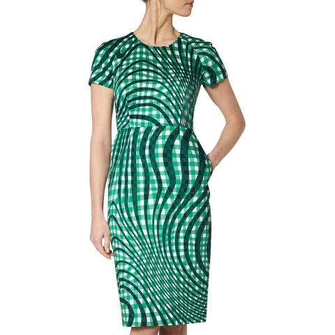 L K Bennett Green Kaleigh Fitted Dress