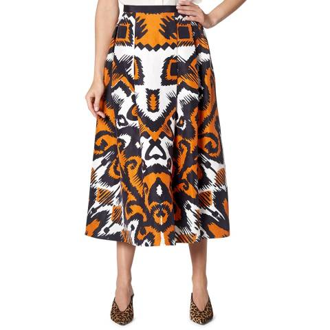 L K Bennett Orange Andrea Print Skirt