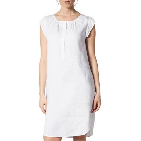 L K Bennett White Karla Button Linen Dress
