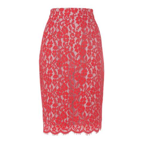 L K Bennett Pink Ward Lace Skirt
