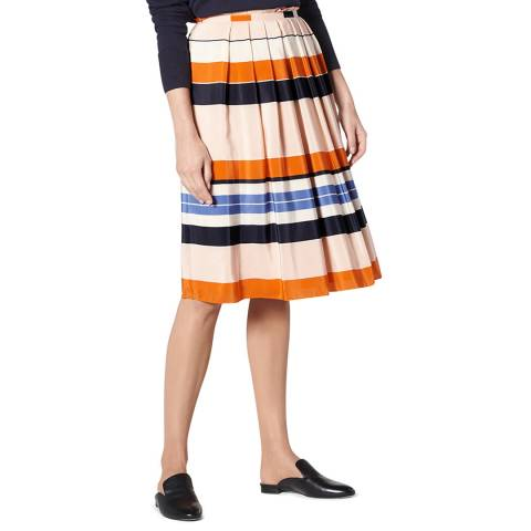 L K Bennett Orange/Multi Caitlyn Stripe Silk Skirt