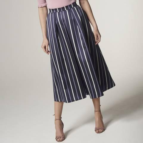 L K Bennett Blue Natalee Pleat Skirt