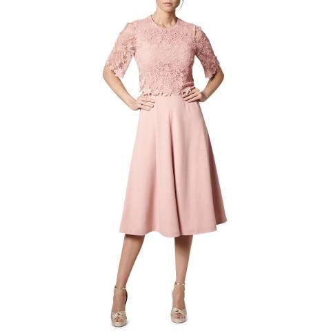 L K Bennett Pink Etta Lace Trim Dress