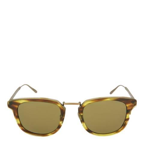 Bottega Veneta Unisex Brown Striped Green Square Sunglasses