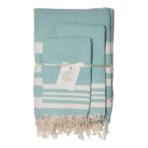 Febronie Stockholm Set of 3 Bathroom Hammam Towels, Aqua/White