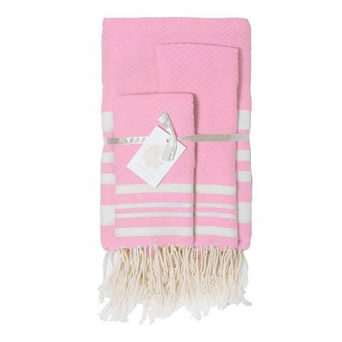 Febronie Hampton Set of 3 Bathroom Hammam Towels, Rose/White