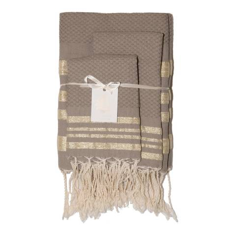 Febronie Stockholm Set of 3 Bathroom Hammam Towels, Taupe/Gold