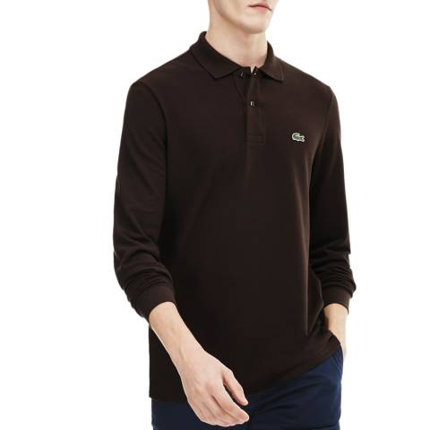 Lacoste Brown Classic Long Sleeve Cotton Polo Shirt