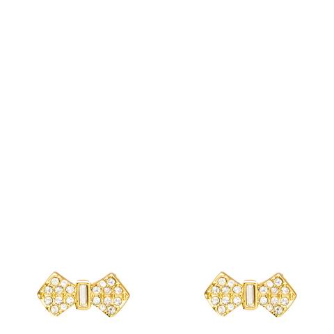 Ted Baker Pale Gold Tone Sersi Solitaire Pave Bow Stud Earrings