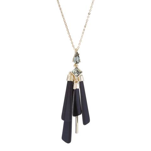 Ted Baker Gold Black Pleat Drop Pendant Necklace