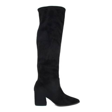 Paola Ferri Black Cam Stretch Suede Long Boots