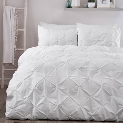 Serene Lara Double Duvet Cover Set, White