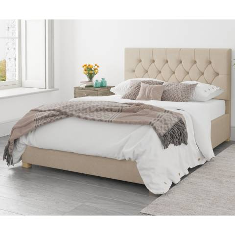 Aspire Furniture Olivier Beige King Kimiyo Linen Ottoman Bed