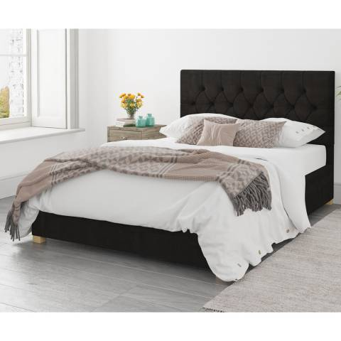 Aspire Furniture Ottoman Luxury Linen - Charcoal - Single (3')